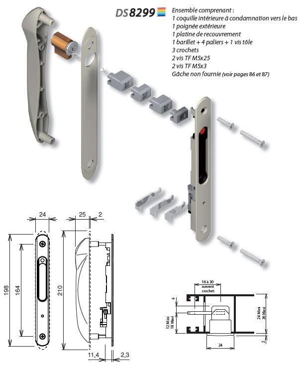 Fermeture à cylindre pour coulissant DS 8299