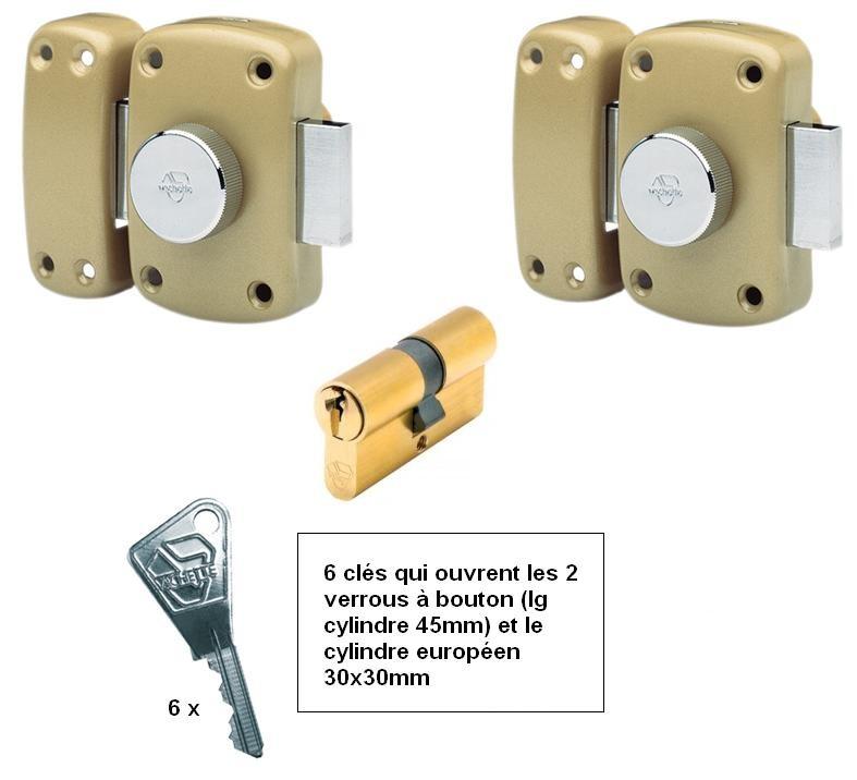 Ensemble 2 verrous bouton vachette + cylindre 30x30 mêmes clés