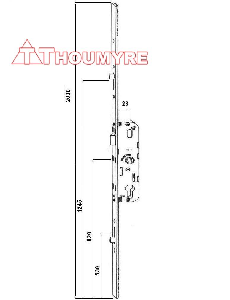 CREMONE GU 5.28 AXE 28/70 2G AJUST HAUT+BAS