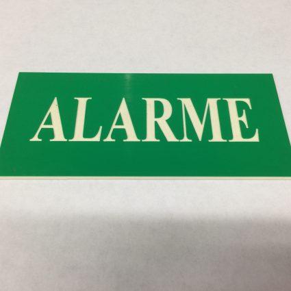 PLAQUE GRAVEE-ALARME-L130xH60