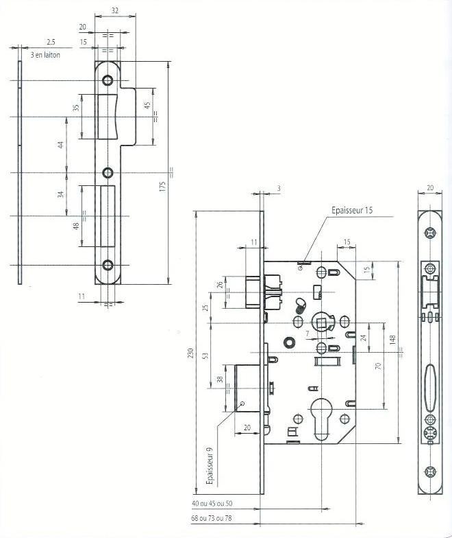 SERRURE A LARDER - CYLINDRE. FOUILLOT BD - AXE 45/70