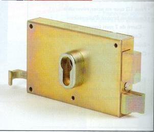 Serrure horizontale bichromaté à tirage cylindre européen