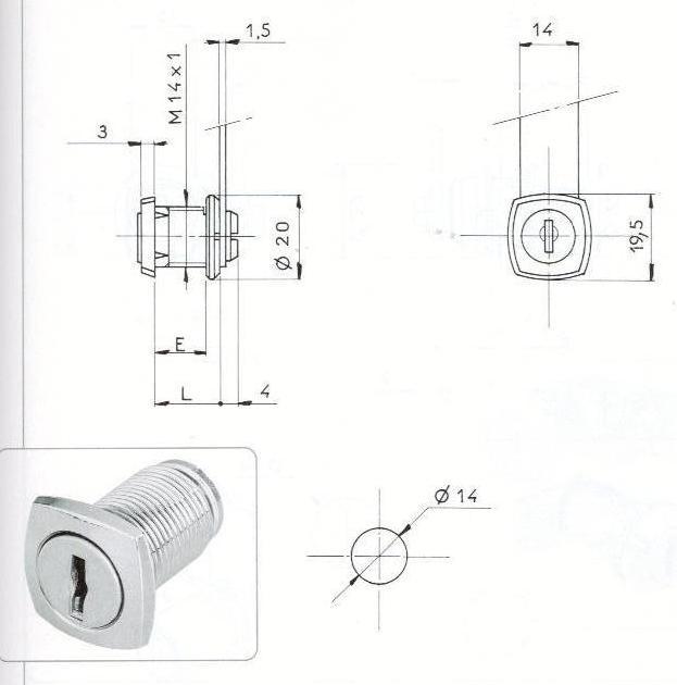 SERRURE BATTEUSE-T/ CARRE D14 - 2 CLES
