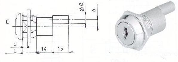 SERRURE A ENTRAINEMENT A ECROU - 2 CLES