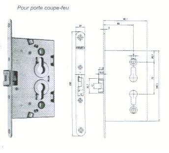 SERRURE A LARDER POUR PORTE COUPE FEU - AXE 65