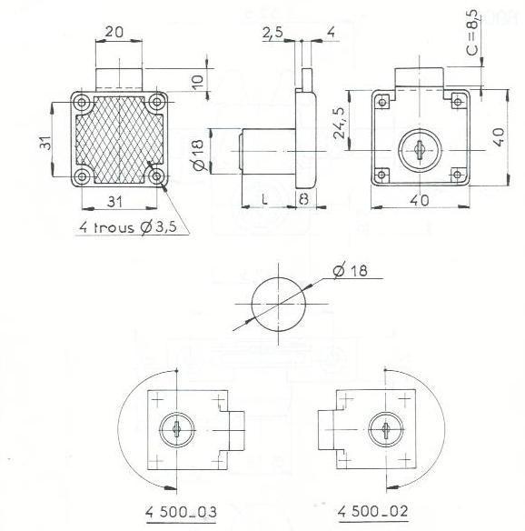 SERRURE A PLAQUER L40mm - 2 CLES