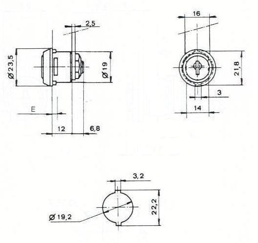 SERRURE BATTEUSE 165CHE L18.8/D19. 2 CLES