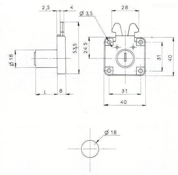 SERRURE A 2 CROCHETS L40/H40mm - 2 CLES