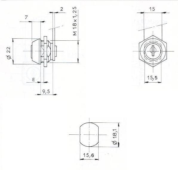 SERRURE BATTEUSE A ECROU L14.5/D18- 2 CLES