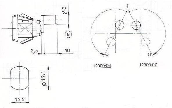 SERRURE A ROULEAU L15mm - 2 CLES