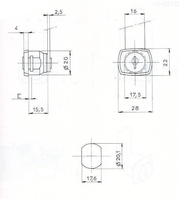 SERRURE BATTEUSE CARRE L18/D20 - 2 CLES