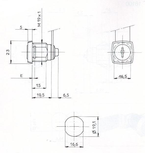 SERRURE BATTEUSE .CARRE-ECROUS L26/D19 - 2 CLES