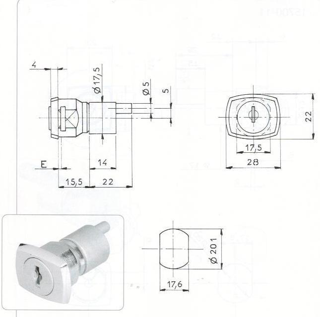 SERRURE A ENTRAINEMENT L37.5/D20 - 2 CLES