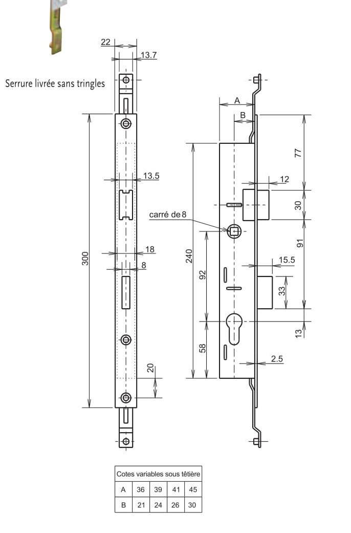serrures metalux axe24 encastrer 3 points renvoi de tringles sp cialiste serrurerie cl s. Black Bedroom Furniture Sets. Home Design Ideas